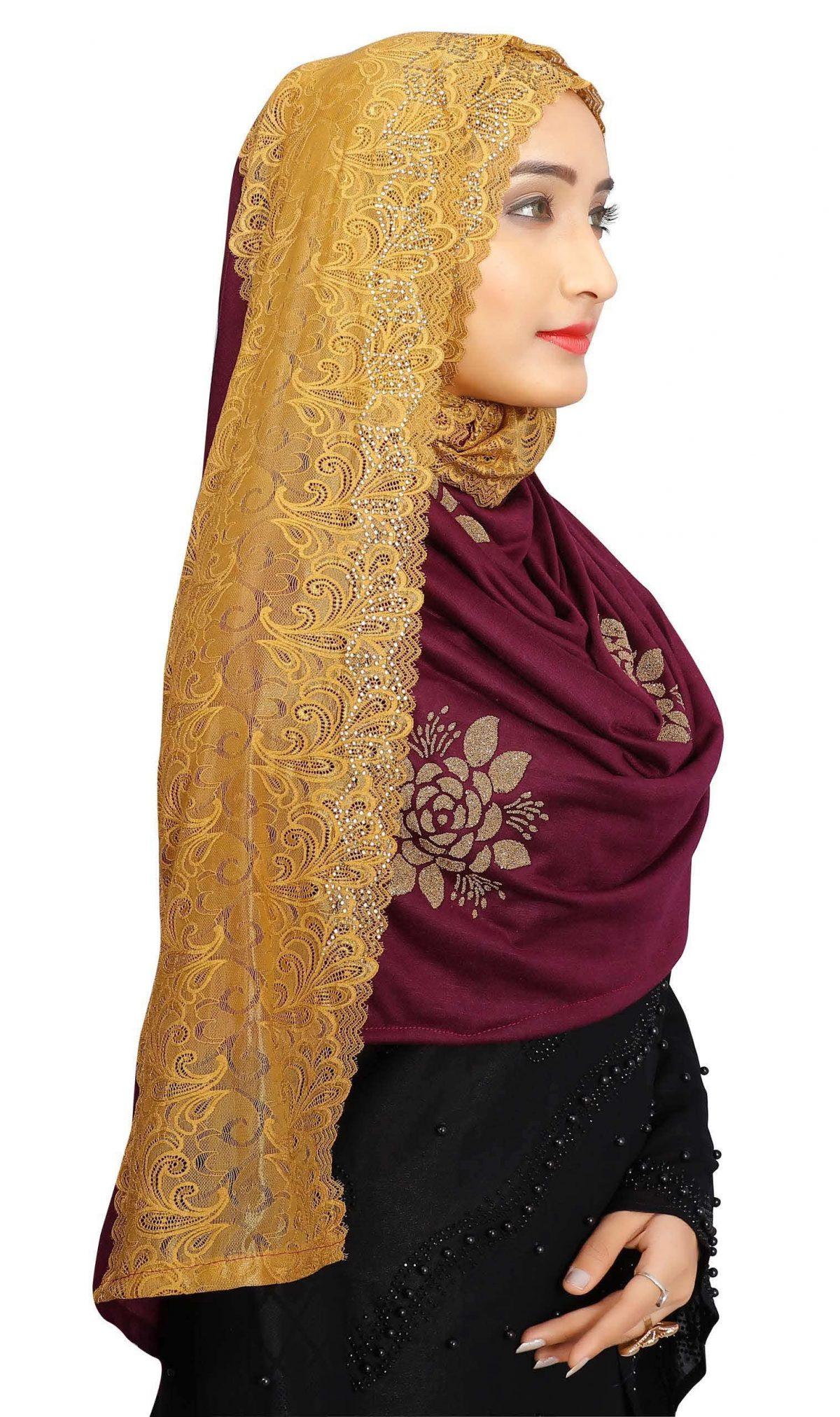 Hijab Mehroon Golden Floral Model-10