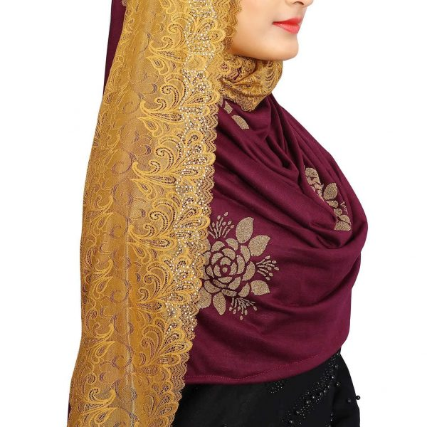 Hijab Mehroon Golden Floral Model-10