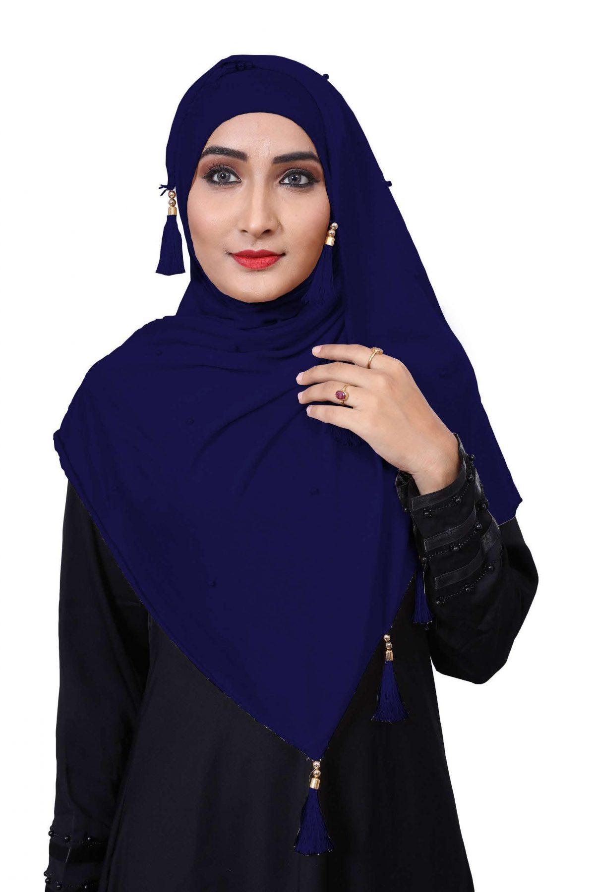 Hijab Navy Blue Model-5