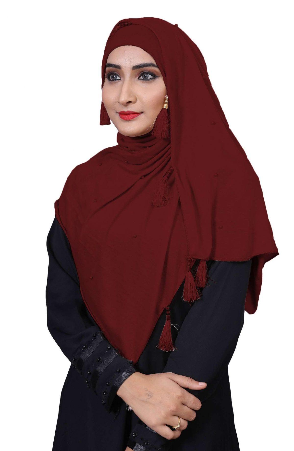Hijab Mehroon Plain Model - 3