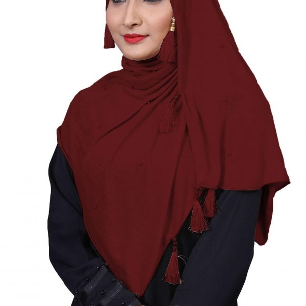 Hijab Mehroon Plain Model - 3