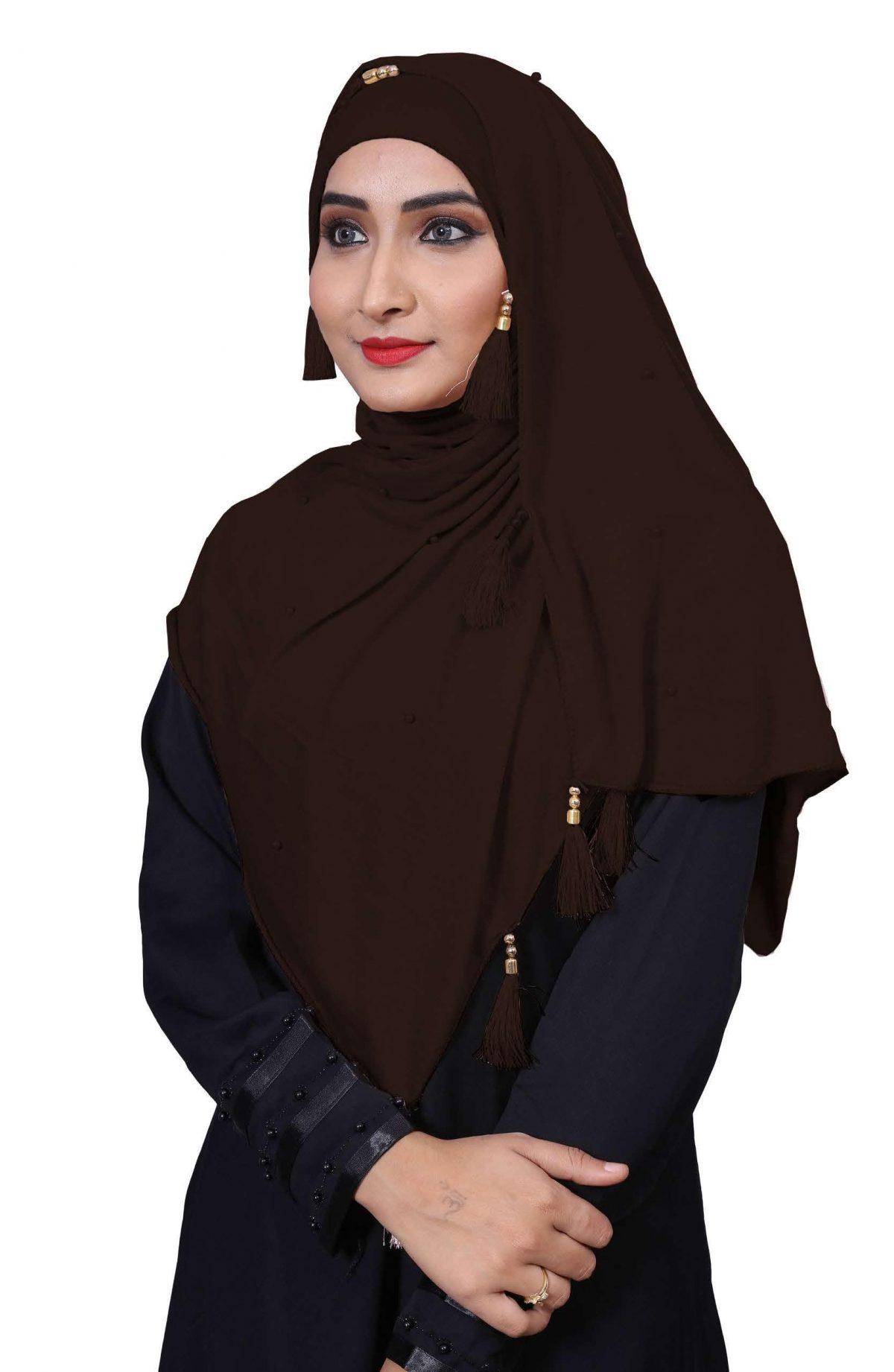 Hijab Brown Plain Model-2