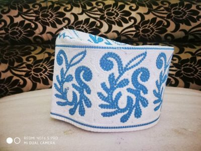 Barkati Topi Blue Color New Flower Design