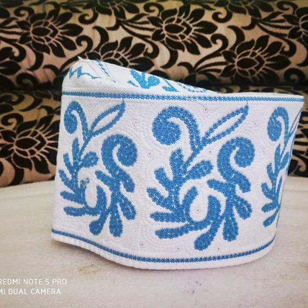 Barkati Topi Blue Color New Flower Design
