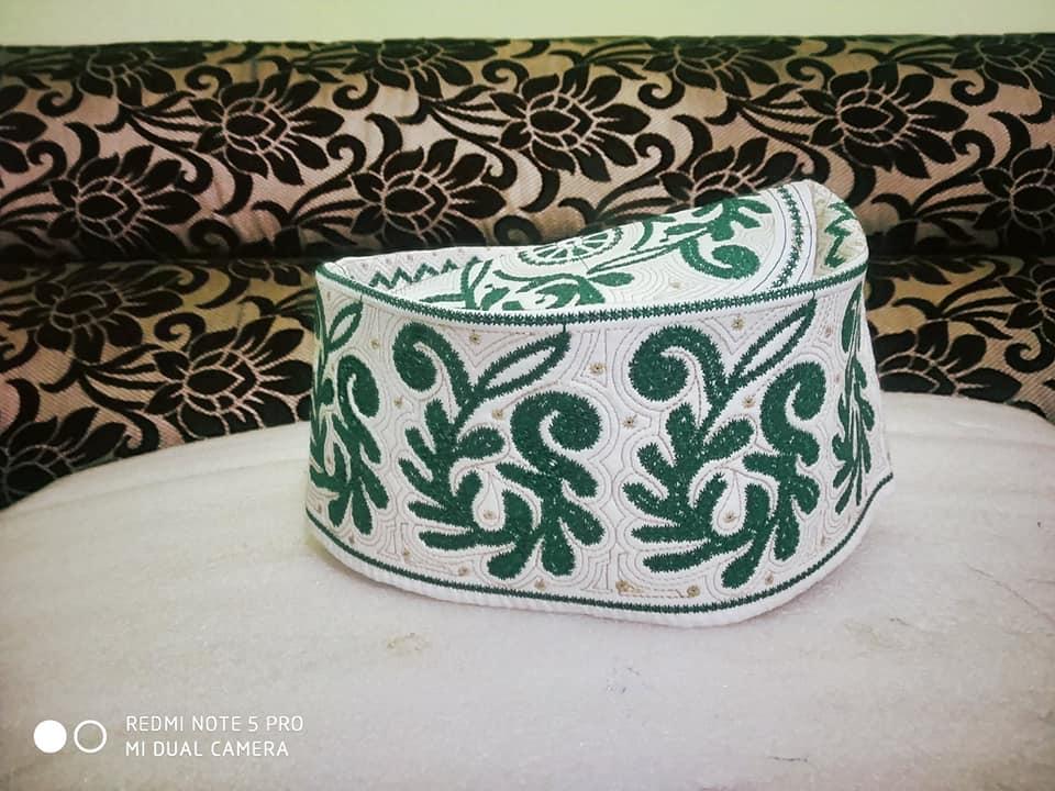 Barkati Topi Green New Flower Design