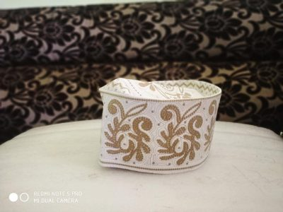 Barkati Topi White Golden New Flower Design
