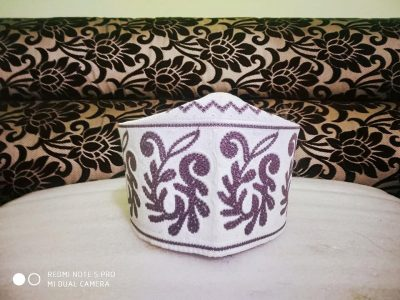 Barkati Topi White Purple New Flower Design