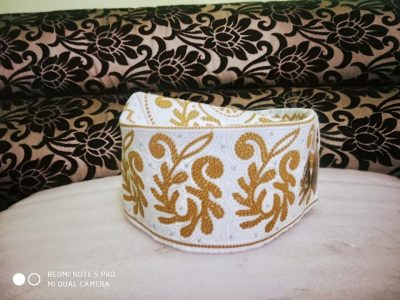 Barkati Topi White Yellow New Flower Design
