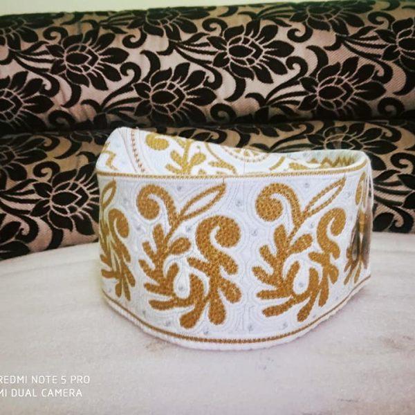 Barkati Topi White Yellow New Flower Design