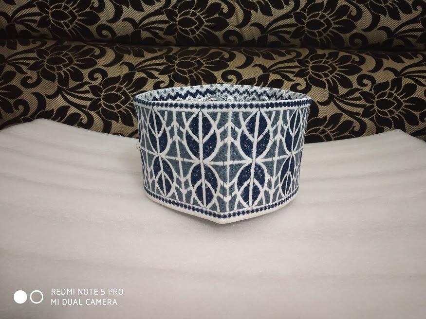 barkati topi blue leaf design