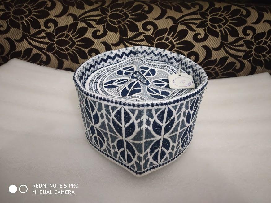 barkati topi blue leaf design 2