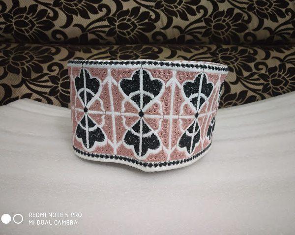 Barkati Topi Pink Wing Design Model 21 angle front