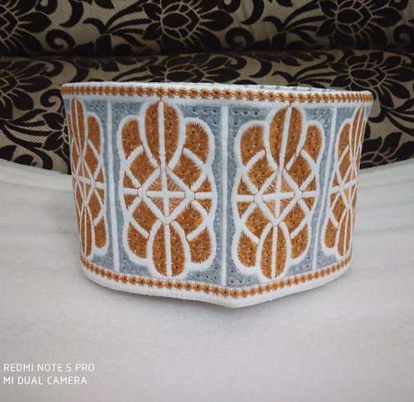 Barkati Topi Orange Cream Design Model 28