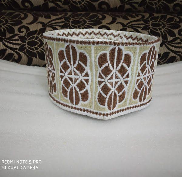 Barkati Topi Brown Cream Design Model 38-1