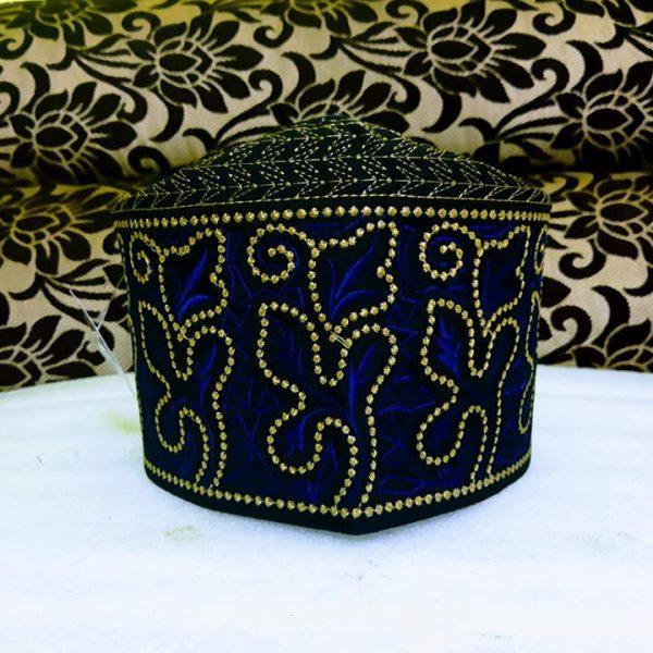 Banarasi Barkati Topi Blue Golden Model-1
