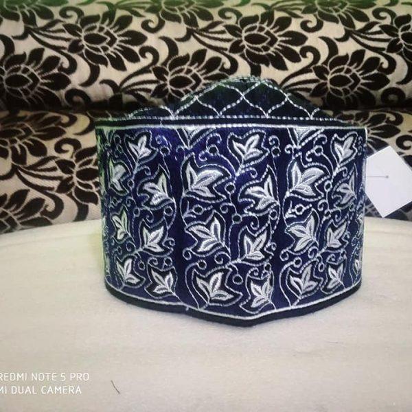 Banarasi Barkati Topi White Blue Leaf Design