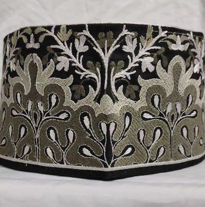 Barkati Black Grey Flower Design Topi