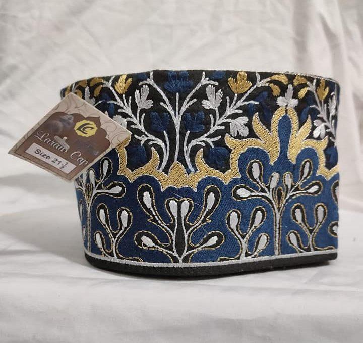 Barkati blue golden Flower Design Topi