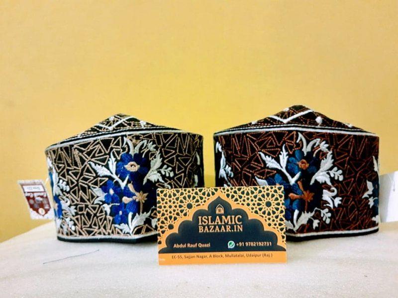 Zohaib Ashrafi Blue Flower Combo Topi