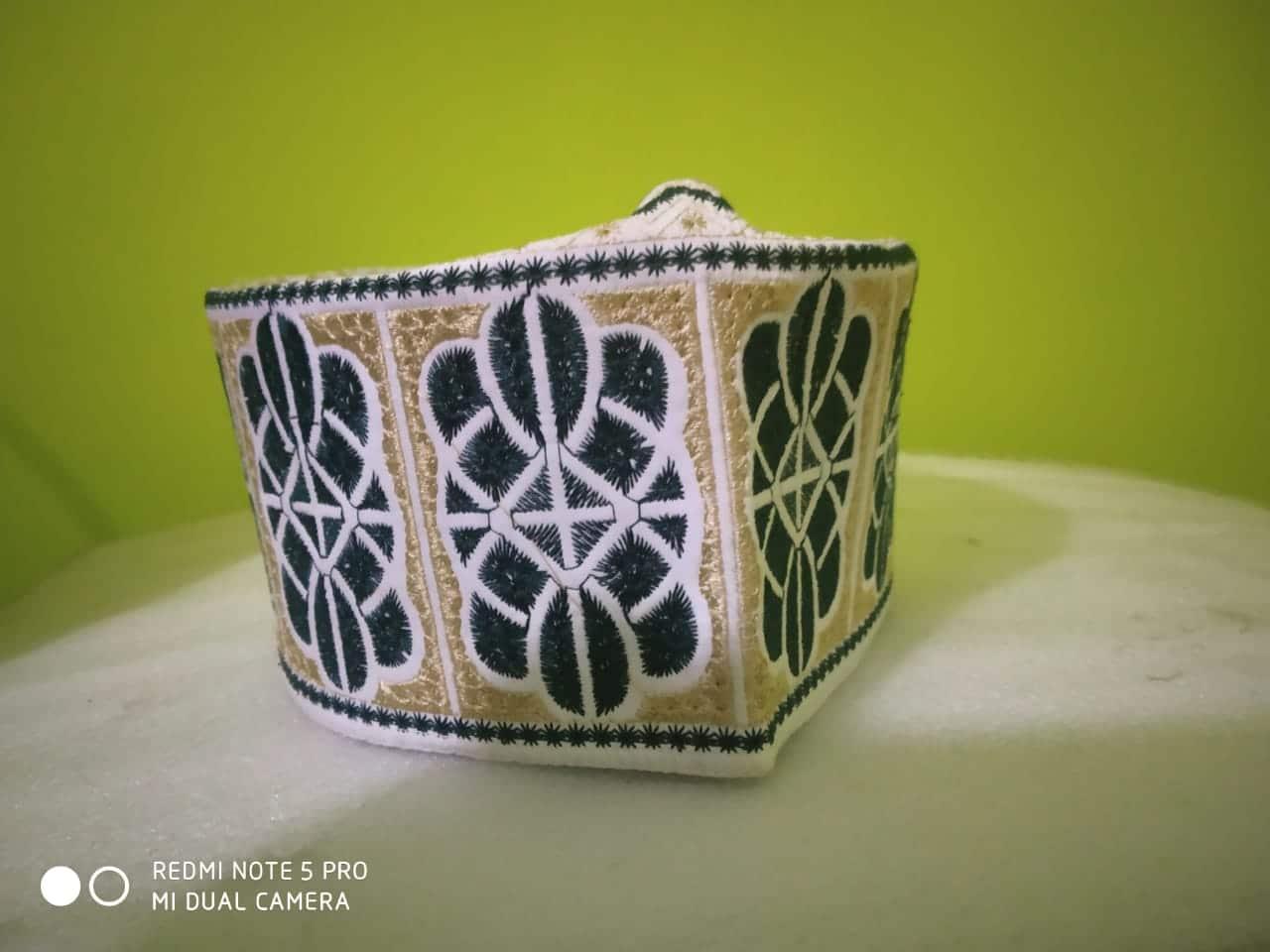 Barkati White Green Leaf Design Topi