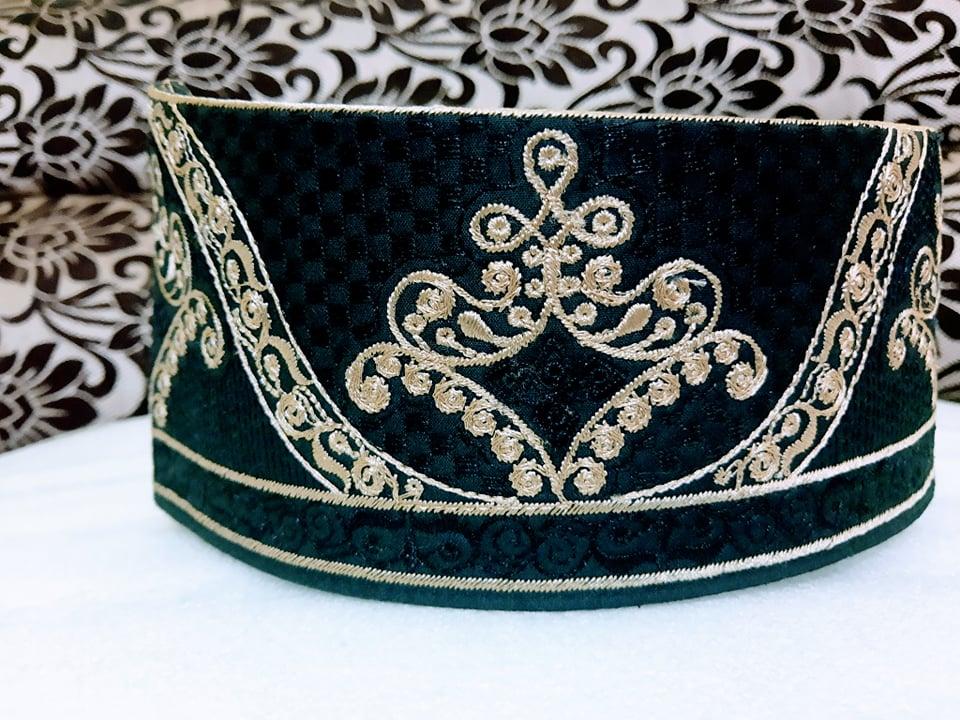 Barkati Black Golden Flower Topi Model No 281220