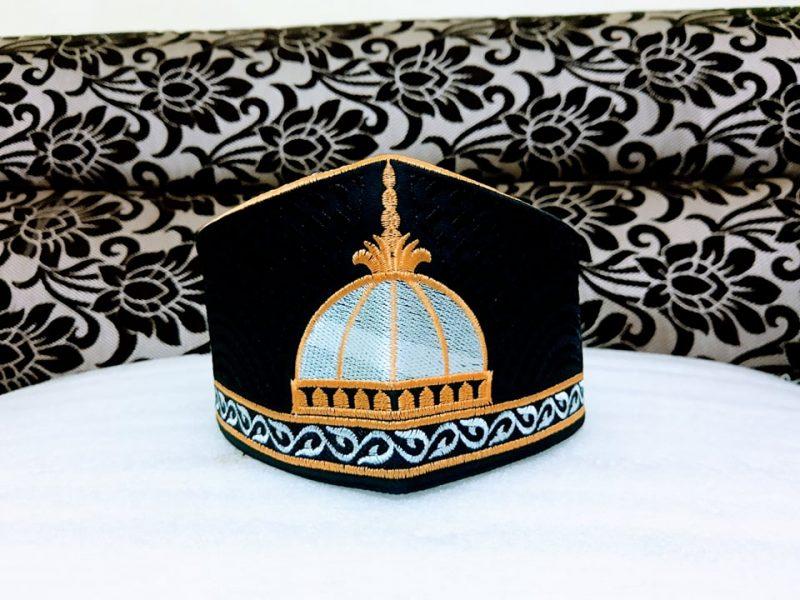 Barkati Golden Black Garib Nawaz Gumbad Topi