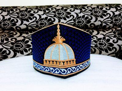 Barkati Golden Blue Garib Nawaz Gumbad Topi