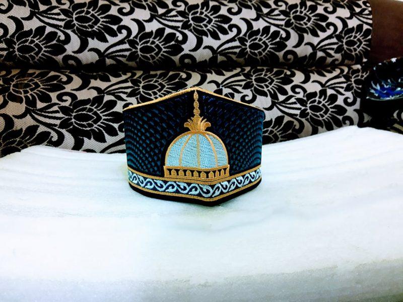 Barkati Golden Navy Blue Garib Nawaz Gumbad Topi