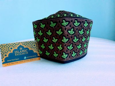 Barkati Green-Mehroon Leave Design Topi-1