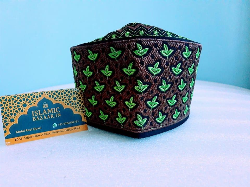 Barkati Green-Mehroon Leave Design Topi-1