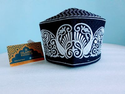 Barkati New White-Black Design Topi