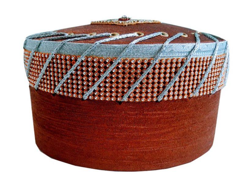 Shabbir Barkati Diamond Orange Naalein Topi-2